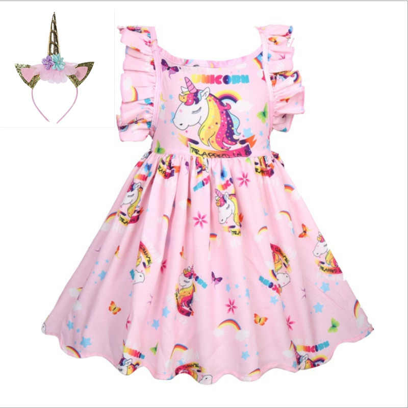 UK Kid Baby Girls Costume Unicorn Party Pagasus Dress Clothes Rainbow Dress Up