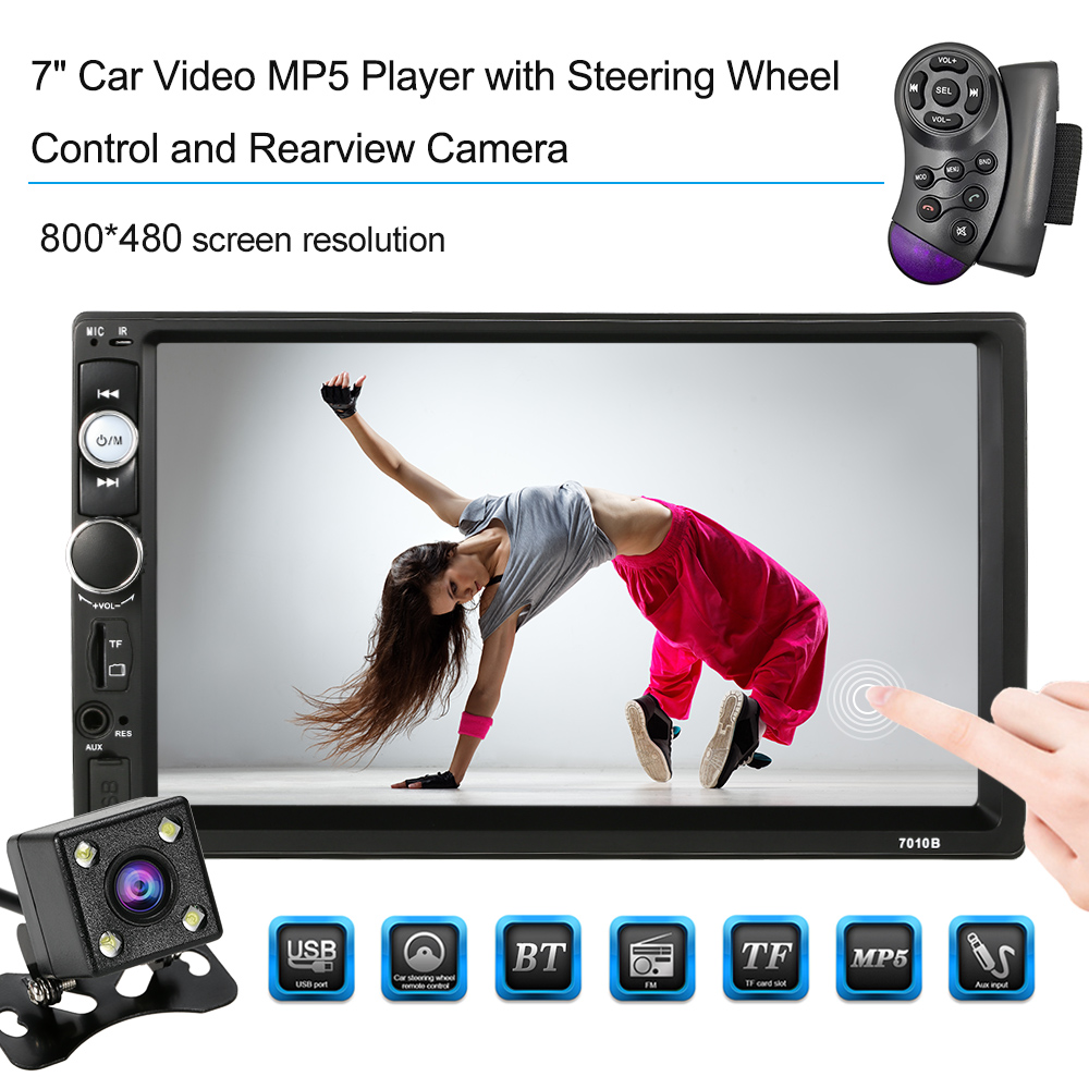 KKmoon 2 Din HD Touch Screen Car Stereo Radio Player Steering Wheel Multimedia Entertainment System BT AM/FM Rear view camera kkmoon 2 din hd touch screen car stereo radio player gps navigation multimedia entertainment system wifi bt am fm android 5 1