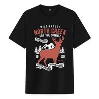 Bloodhoof North Creek Deer Nature Cartoon printing black cotton hip hop men t shirts unisex tops tee