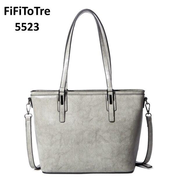 95202f0b0e50 5523 Women Casual Tote Genuine Leather Handbag 2018 New Fashion Vintage  Shopping Bag Designer Crossbody Shoulder Bag Female gray