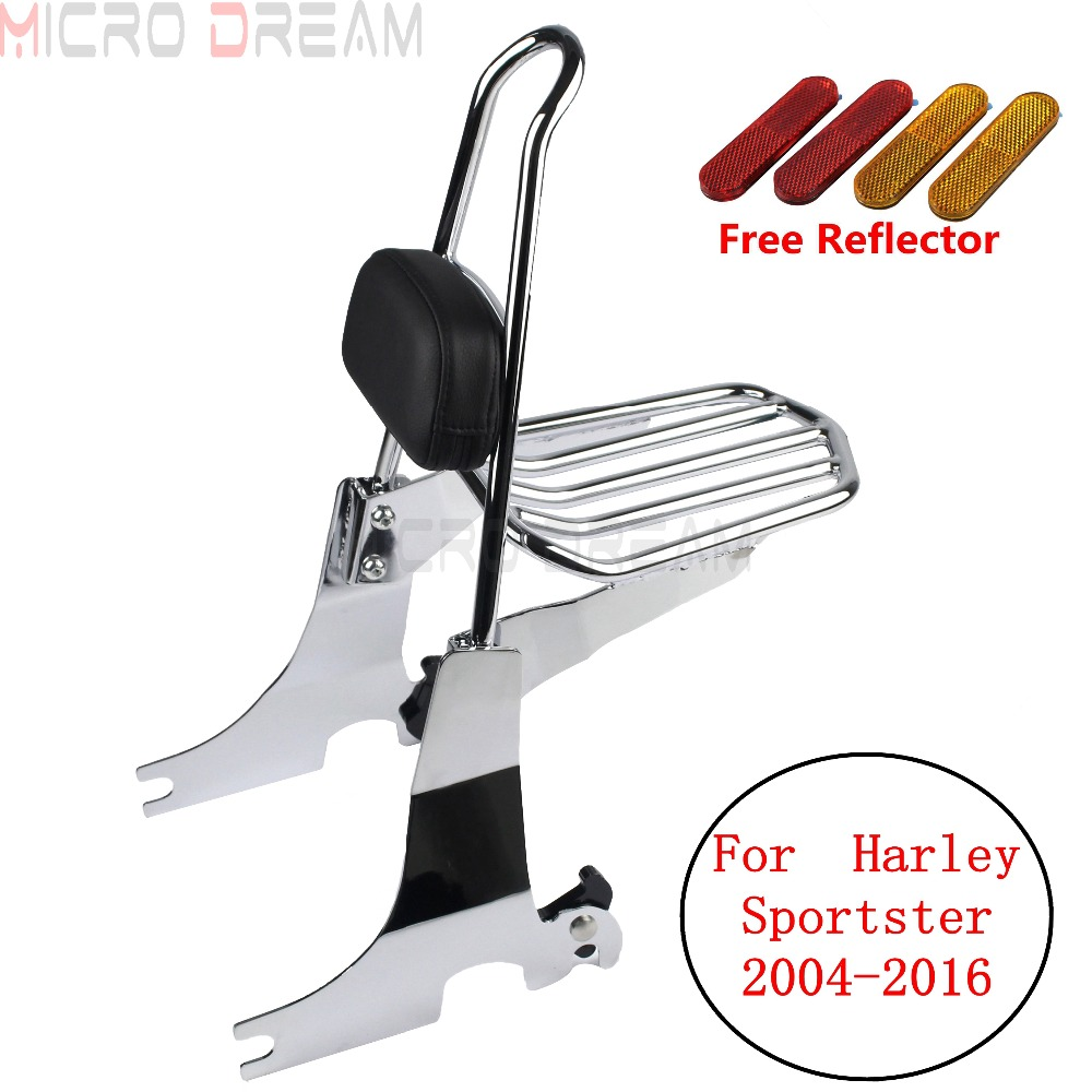Chrome Motorcycle Luggage Sissy Bar Rack Rear Passenger Black Pad Backrest For Harley Sportster Seventy two