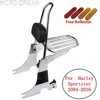 Chrome Motorcycle Luggage Sissy Bar Rack Rear Passenger Black Pad Backrest For Harley Sportster Seventy two Forty eight 1200 883