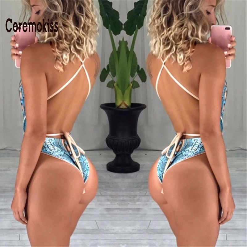 Ceremokiss Women Sexy One Piece Swimsuit  Print Bandage Sleeveless Swimwear Summer Beach Backless Wear Monokini Bathing Suit bandage vintage beach wear one piece swimsuit women backless trikini deep v neck monokini triquini sexy bathing suit