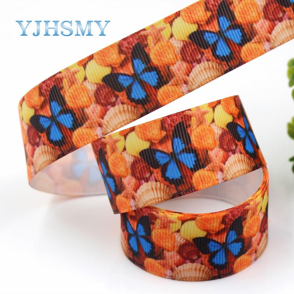 YJHSMY G-18925-1206, 10 ярдов, мм 25 мм океан серии бабочка оболочки ленты термальность передачи печатных grosgrain, Подарочная упаковка DIY