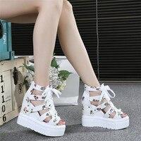 Chowaring height increase 12cm platform ladies sandals wedge chunky high heels floral print peep toe women summer shoes size 34