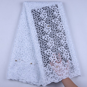 Image 2 - Pure White Milk Silk Lace African Net Lace Fabric French Lace Fabric High Quality Nigerian Lace Fabric For Wedding Dress1630B