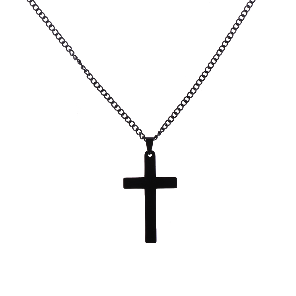 Stainless Steel Cross Pendant Necklace Men Women Link Chain Gold//Silver Plated