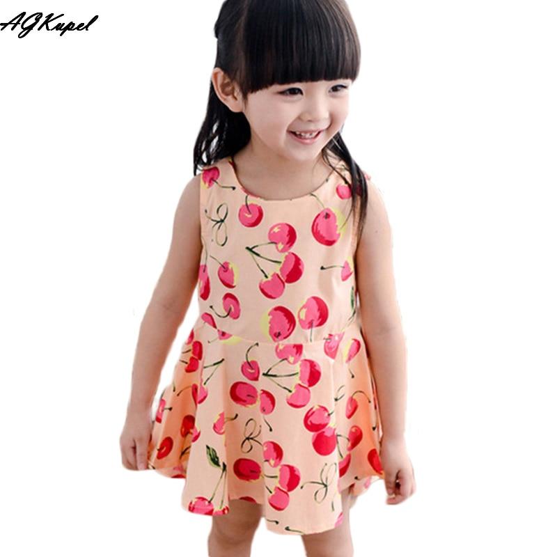 Baby Girl Dress Summer Kids Teenagers Sleeveless Print