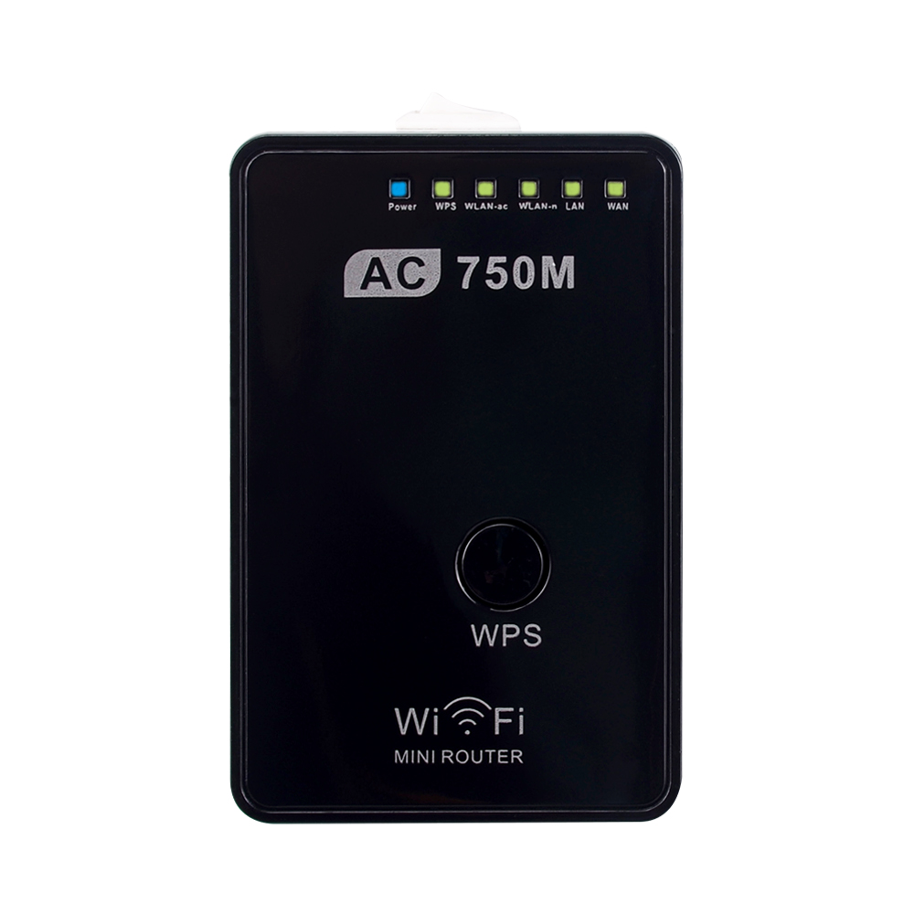 AC750 WiFi Rentang Extender Router Reapt Boosters Sinyal Dual Band 2.4GHz & 5GHz Dual Band Max 750Mbps 802.11ac AS / EU Plug