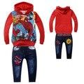 2016 Crianças Outfits Treino Do Homem Aranha Roupas Ternos Crianças Hoodies + Crianças Calças de Brim Denim Calças Esporte Suit Meninos Roupas Set