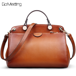 Go Meetting Genuine Leather Luxury Handbags Women Bags designer Shoulder bags for women 2018 Vintage Cross body Messenger Bag
