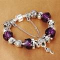 HOMOD Luxo Cristal Pulseira Mulheres Charme Banhado A Prata Charms Beads fit Pandora Pulseira para as meninas Diy Jóias Presente