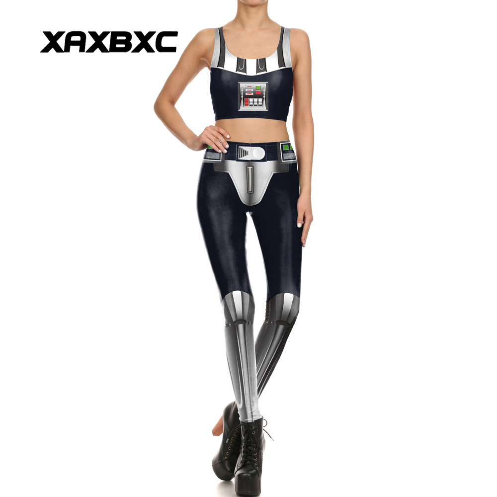 1709 Sexy Girl Leggins STAR WARS Dark Lord Darth Vader Cosplay Prints Women Leggings Crop Top Vest Bra Sets Fitness Workout Suit
