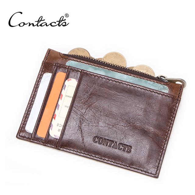 CONTACT'S 100% Genuine Leather card holder High capacity men id credit business card holder Male Coin Purse mini Slim Card Case