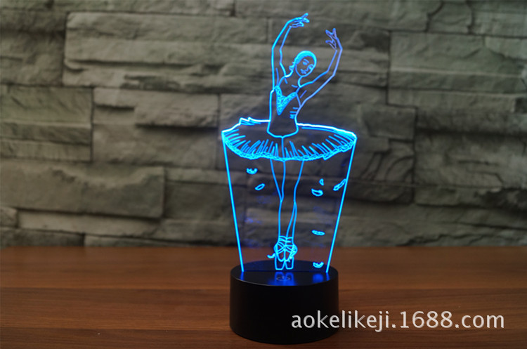 New Foreign Trade Ballerina 3D Lights Colorful Touch LED Visual Lights Gift Atmosphere Lamp