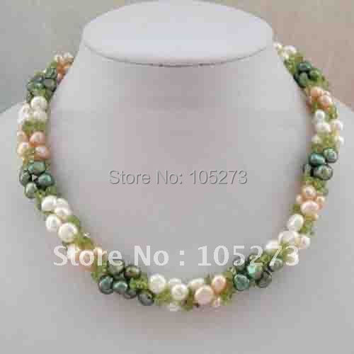 Stunning 3 strands 8mm white pink green baroque pearls green peridot 18''inchs fashion jewellery Wholesale free shipping FN811
