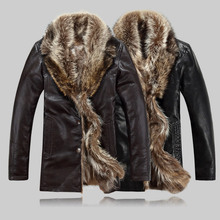 new designer man Shearling fur collar jacket fashion warm winter coat