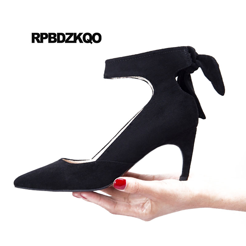 Catwalk Shoes 3 Inch Black 2018 Red Stiletto Pumps Famous High Heels Italian Suede Size 4 34 Ladies Ankle Strap Bow Pointed Toe ladies western style sexy elegant ankle strap big size 4 to 15 soft suede genuine leather pointed toe shoes green white red