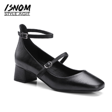 ISNOM 2018 Mary Jane Med Heels Women Pumps Spring Square Heel Ladies Shoes Square Toe Buckle Buckle Strap Cow Leather Footwear