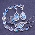 Blue Created Sapphire White Topaz Women 925 Sterling Silver Jewelry Sets Earring/Pendant/Necklace/Rings/Bracelet Free Gift Box