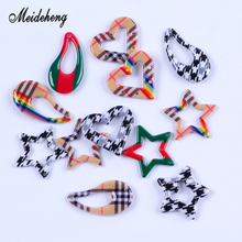 Acrylic Scottish Tartan Swallow Gird Heart Star Drop bead Earring Pendant Necklace Hair Ornament JewelryAccessories WomensGifts