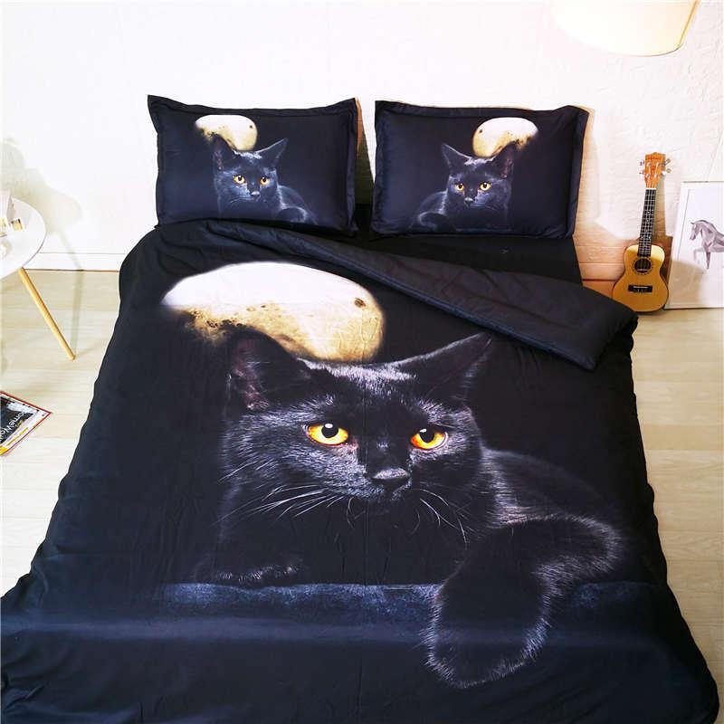 Animais cama definir o tamanho gêmeo cat lua 3D adolescente cama roupa de cama capa de edredão preto galaxy colcha têxtil de casa crianças jogo de cama