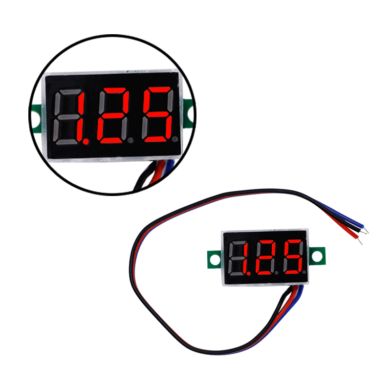 100pcs/lot 0.36 Inch  DC0-100V Digital Voltmeter Red  LED Display Pannel Voltage Meter With Three Wires 35% Off