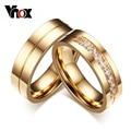 Vnox alianzas de boda anillos de moda el amor chapado en oro cz zirconia anillo de acero inoxidable