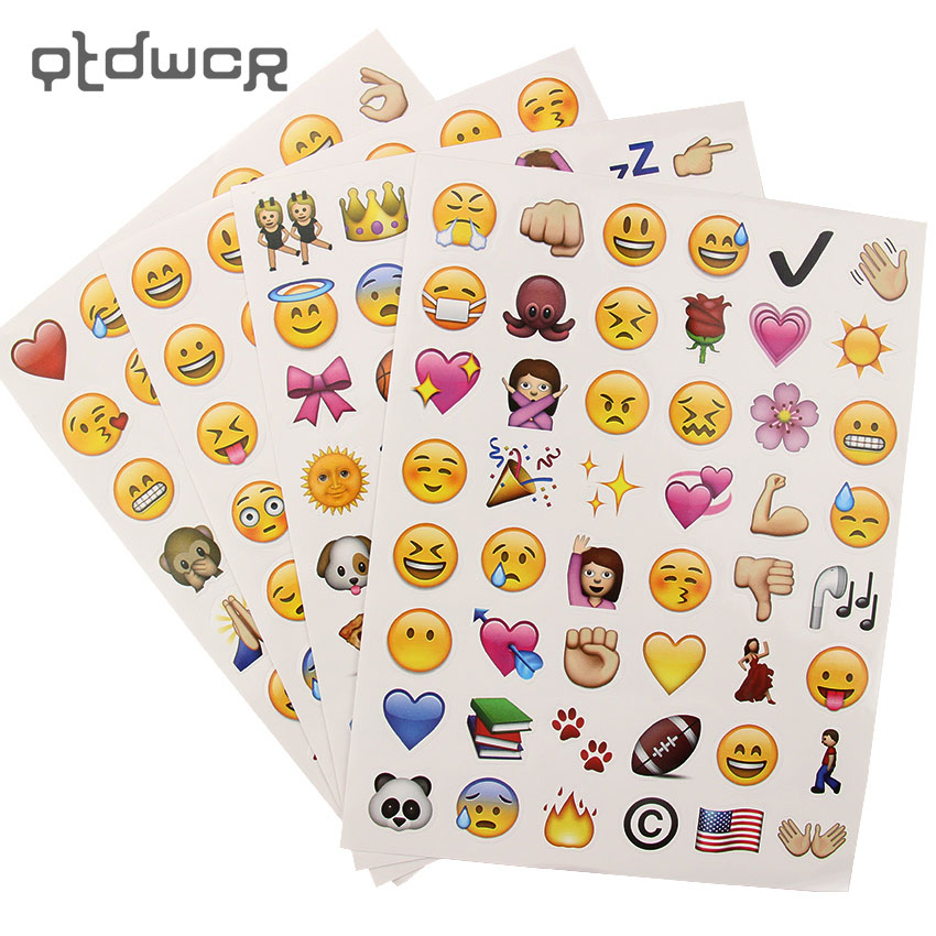 4 Sheets/Set 192 Emoji Smile Face Diary Stickers DIY Kawaii Scrapbooking Stationery Sticker Stationery New School Supplies one sheet 48 stickers hot popular sticker 48 emoji smile face stickers for notebook message twitter toy large viny instagram
