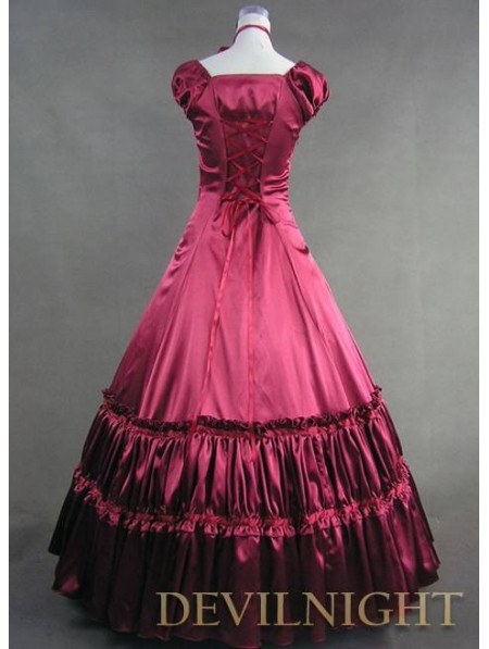 Элегантный Красный Коротким Рукавом Классический Готический Викторианской Платье Стили