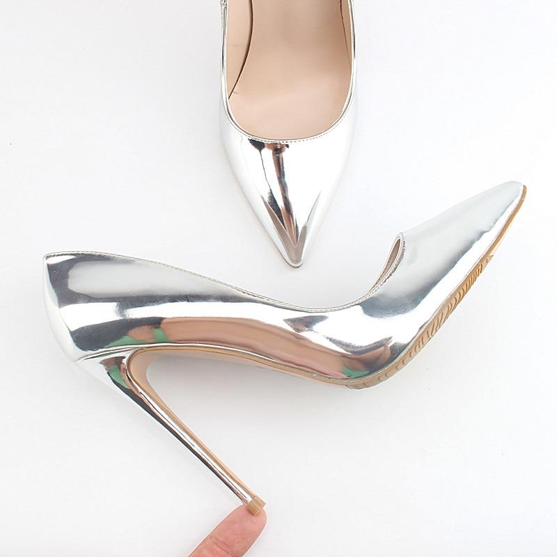 1d8864e113cad1 Chaussures de marque 12 CM talons hauts chaussures de mariage en argent  femmes pompes en cuir verni mode femmes chaussures de mariée talons Sexy  pompes K ...