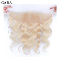 613 Blonde Transparent Lace Frontal Closure Body Wave Brazilian Remy Hair With Baby Hair Bleached Knots Pre Plucked CARA Hair