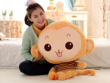 middle size stuffed brown monkey toy lovely plush monkey doll with stripe cloth gift  about 68cm