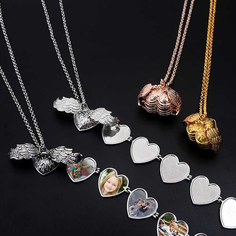 Sale 5 Custom Made Photo Medallions Pendant Memory Floating Locket Necklace Angel Wings Flash Box Square Heart Box Necklaces