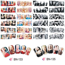 (12 Sheets IN One) Sexy Marilyn Monroe Pattern Nail stickers Water Transfer Stickers Decoration Quality Nail Sticker Tattoo DIY