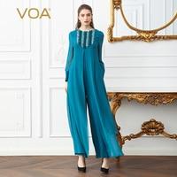 VOA тяжелый шелк плюс Размеры Для женщин милые комбинезон Flare с длинным рукавом голубой ложные два набора Повседневное широкие брюки Комбине