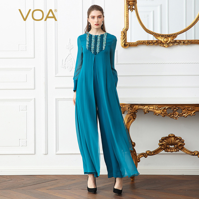 5c688da971d VOA Heavy Silk Plus Size Women Sweet Cute Jumpsuit Flare Long Sleeve Cyan  False Two Set Casual Wide Leg Jumpsuits Spring K366