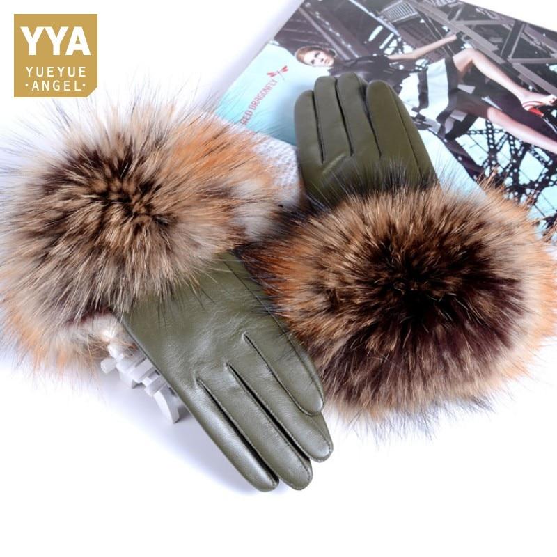 New Women Genuine Leather Raccoon Fur Gloves Female 2019 Brand Winter Ladies Fashion Black Red Green Sheepskin Driving Gloves