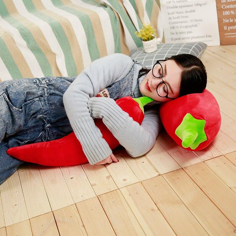 BABIQU 1pc 50-125cm Simulation Red Chili Ginger Multi Sizes Lifelike Plant Pillow Plush Toy Soft Stuffed Cushion Child Cute Gift