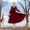 2018 Spring Women Dress Vintage Retro V Neck Long Sleeve Swing Hem Tunic Vestidos