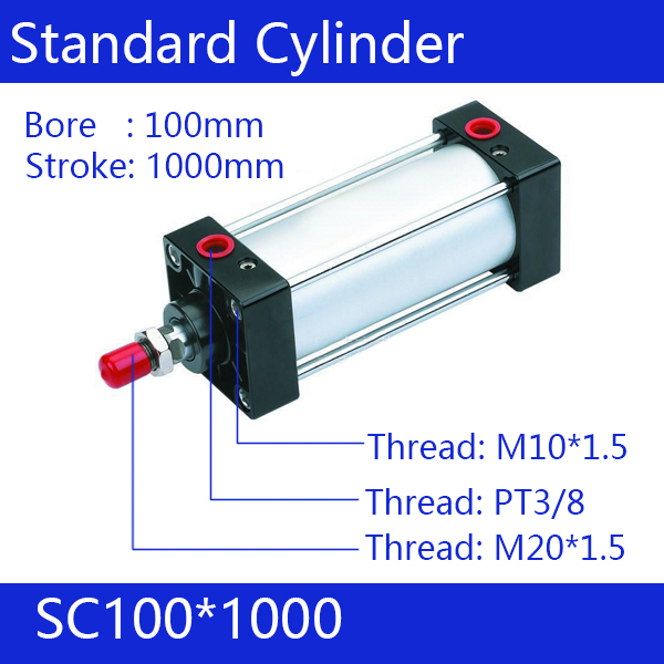SC100*1000 Free shipping Standard air cylinders valve 100mm bore 1000mm stroke single rod double acting pneumatic cylinder sc100 100 free shipping standard air cylinders valve 100mm bore 100mm stroke single rod double acting pneumatic cylinder