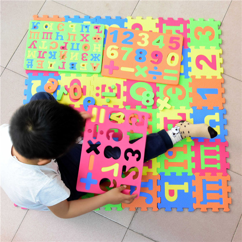 14cm*14cm Big Size Russian Alphabet Mat 36 pcs/ lot kids play cartoon EVA Learning puzzle toys mats foam patchwork floor Carpets | Happy Baby Mama