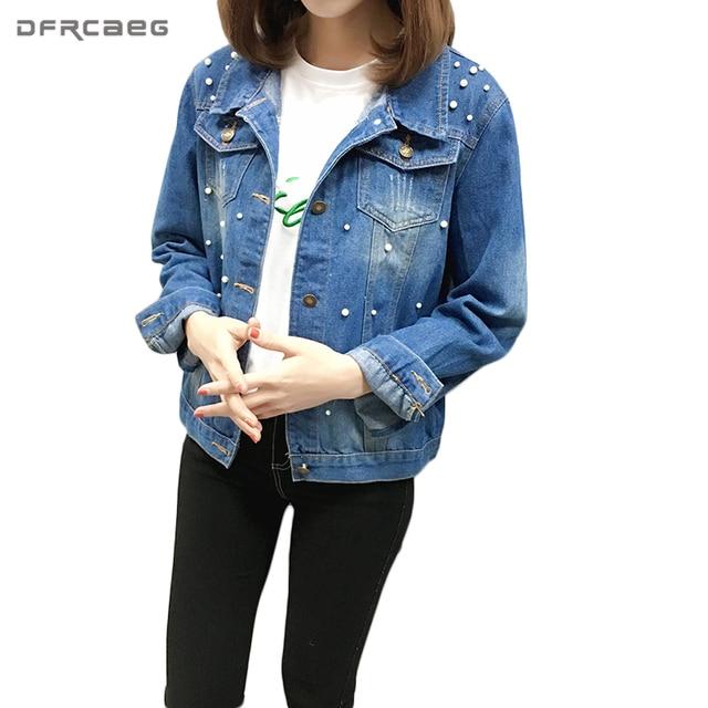 abda590737f74 M-5XL Fashion 2018 Spring Plus Size Denim Jacket Long Sleeve Slim Beading  Pearls Coat Women Vintage Jaqueta Jeans Blue Outerwear