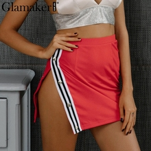 Glamaker Sexy side split mini skirt women bottom Casual stripe pencil skirt female Streetwear black high