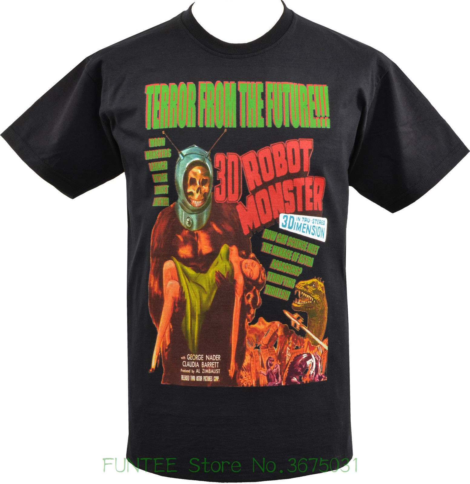 Casual Fitness hombres camisetas hombres negro camiseta Terror del futuro Robot monstruo B-Movie Sci-Fi S-5xl