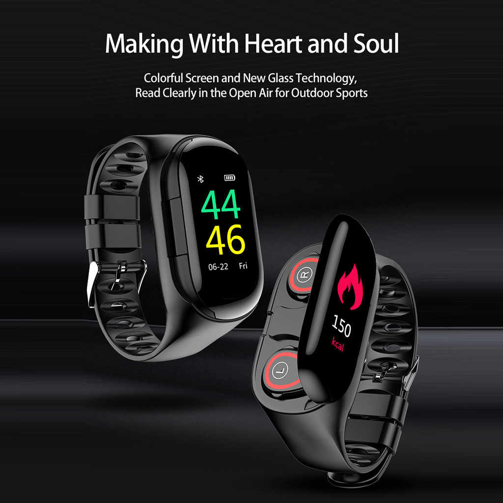 M1 Newest AI Smart Watch With Bluetooth Earphone Heart Rate Monitor Smart Wristband Long Time Standby Sport Watch Men