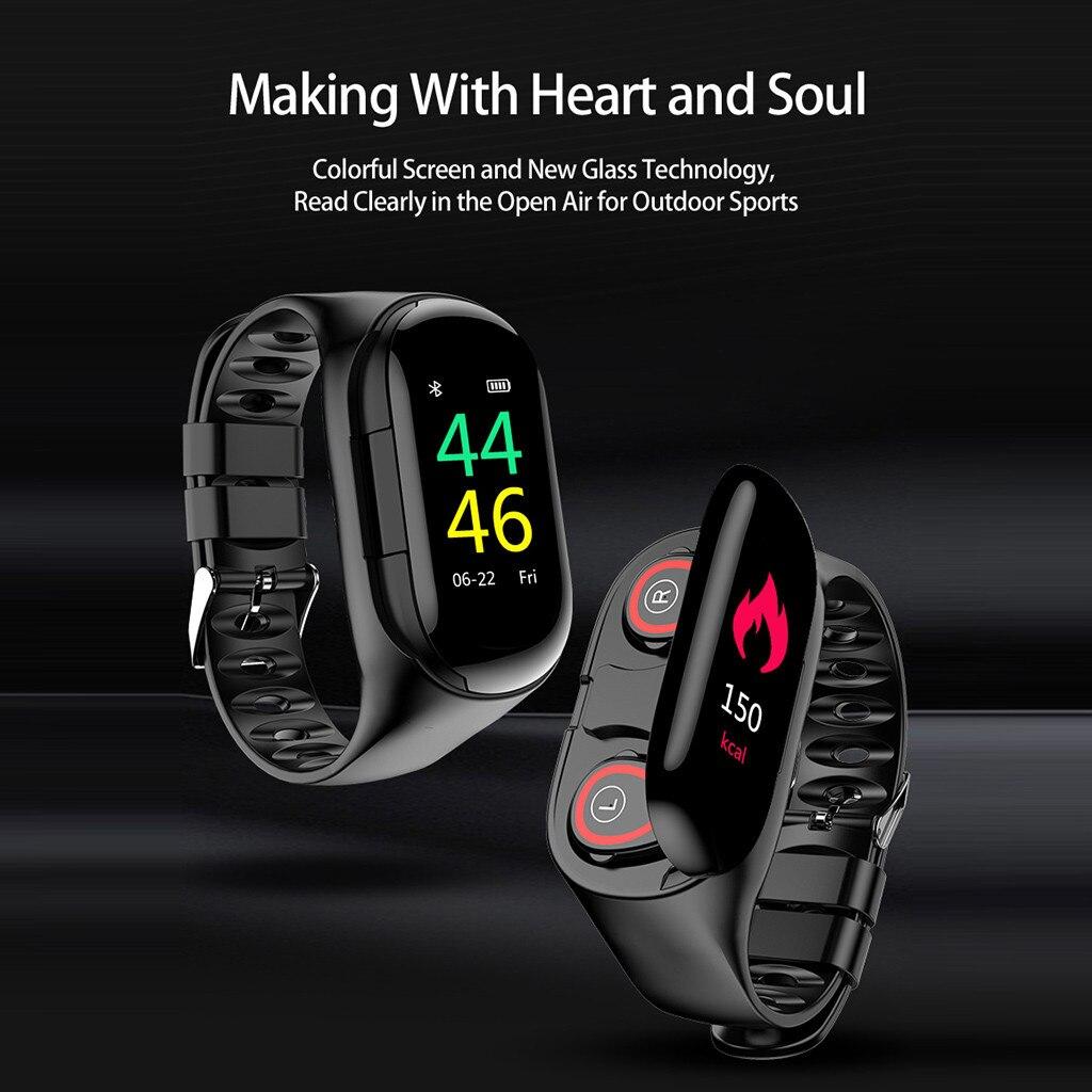 M1 новейший AI Смарт часы с Bluetooth наушником монитор сердечного ритма умный Браслет долгое время ожидания спортивные часы для мужчин