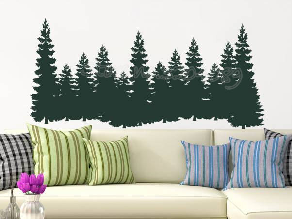Pine Trees Wall Sticker Forest Landscape Nature Vinyl ...