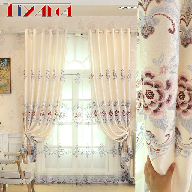 Luxury Rose Embroidery Sheer Curtains Fabric For Living Room Semi