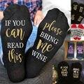 Vino personalizado calcetines Si Usted puede leer esto Me Trae un Vaso de Vino blanco rojo Calcetines de Las Mujeres de Los Hombres
